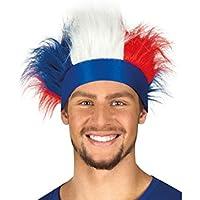 Bandeau bleu avec cheveux bleu blanc rouge montants (Alsino 61995) Déguisement supporter France Tricolore match foot Convenable pour adultes et ados grâce à l'élasticité femme homme fille garçon fête