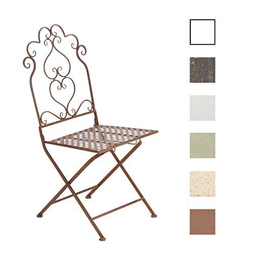 CLP Eisen-Stuhl ANABEL, Metall Klappstuhl, Design nostalgisch antik antik-braun