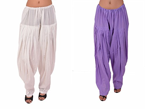 Stylenmart Combo Offers - Pack of White and Lavender Cotton Patiala Salwar