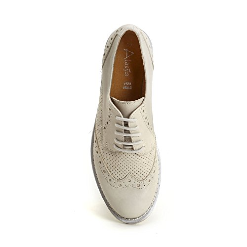 ALESYA by Scarpe&Scarpe - Chaussures à lacets avec micro ajours et queue d'aronde, Chaussures Plates, en Cuir Blanc
