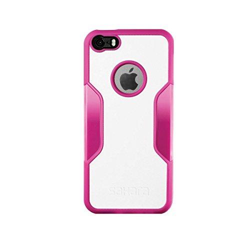 Coque iPhone 5 SE 5s, (Rose Gold Clair) SaharaCase® + [film protecteur ZeroDamage en verre trempé] kit de protection accompagné d'un et d'une protection de saisie antidérapante [antichocs] avec une co Rose, Blanc