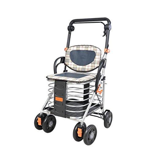 Pflanzenregale Pflanzengefäße Mobilitätshilfen für ältere Menschen Einkaufswagen Faltbare tragbare Wagen vierrädrige Einkaufswagen ältere Menschen können einen Roller Ultraleicht Fahren Doppelbremse