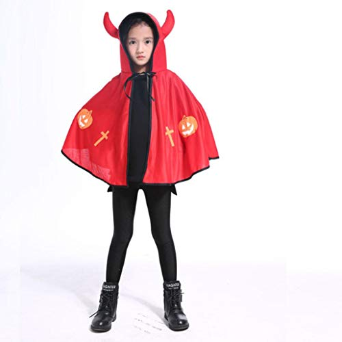 (Rosennie Halloween Kostüm Karneval Kinderkleidung Kleinkind Halloween Baby Ochsenhorn Umhang Cape Robe mit Kapuze Lange Samt Cape Vampir Kostüm Halloween Unisex Party Cosplay Kostüm(Rot))