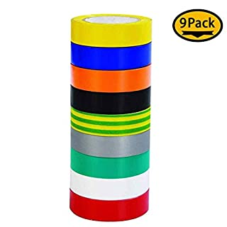 Maveek 9 Pack Electrical Tape 0.67 Inch 20M Insulation Tape, 65 Feet, 9 Color