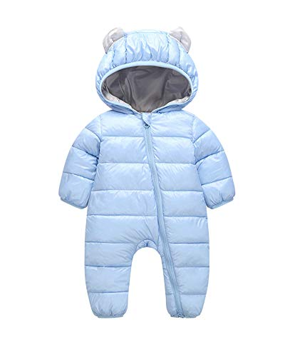 Baby Neugeborenes Schneeanzüge Winter Overall Mit Kapuze Mädchen Jungen Strampler Jumpsuit Blau 70 (Für Neugeborene Jungen Schneeanzug)