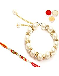 Ghasitaram Gifts Rakhi for Brother Rakhis Online - Pearly Dome bhaiya Bhabhi Rakhi