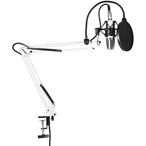 Neewer® 700NW microfono Set Include: (1) Microfono a Condensatore + (1) Microfono Sospensione Scissor braccio supporto con morsetto di fissaggio + (1) filtro antipop + (1) Shock Mount (Bianco)