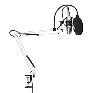 Neewer® 700 NW set microfono, include: 1 microfono a condensatore, 1 braccio di sospensione con morsetto di fissaggio, 1 filtro pop, 1 guarnizione antishock, colore: bianco