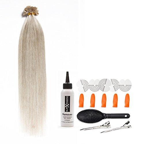 Graue Bonding Extensions aus 100% Remy Echthaar - 50x 1g 50cm Glatte Strähnen - Lange Haare mit Keratin Bondings U-Tip als Haarverlängerung und Haarverdichtung in der Farbe Grau