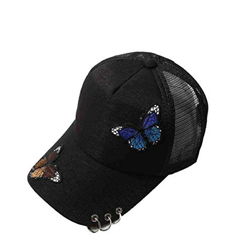 Summer Lady Butterfly Pattern Outdoor Embroidered Baseball Cap