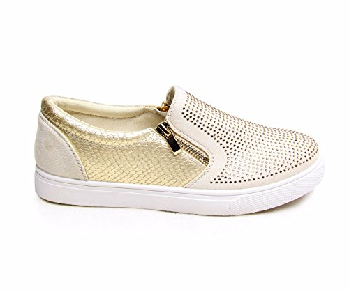 WOMENS LADIES GIRLS FLATS ZIP DIAMANTE SNEAKERS PUMPS TRAINERS SHOES SIZE 3-8
