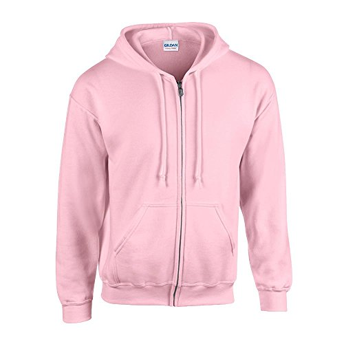 Gildan - Kapuzen Sweat-Jacke 'Heavyweight Full Zip' XXL,Light Pink (Rosa Kapuzen-jacke)