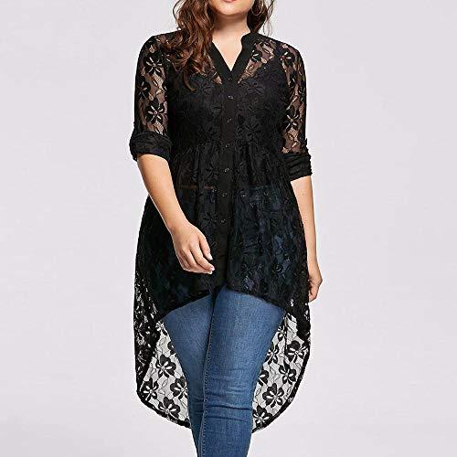 Imagen de vjgoal mujer tallas grandes casual moda manga larga sexy v cuello perspectiva de encaje botón swallowtail camisa tops blusa xxx large,negro  alternativa