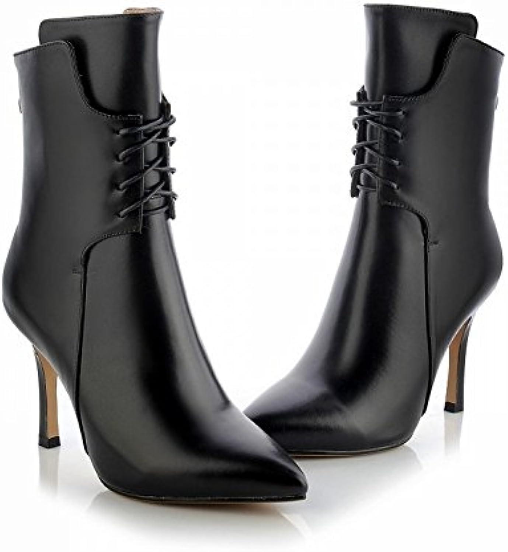 CXY Botas de Mujer de Tacón Alto en Fino de Gama Alta con Zapatos de Mujer Puntiagudos de Alta Gama,Negro,37