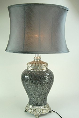 Four Seasons- Large Silver Mosaic Urn Table Lamp with Silver oval shade Light