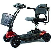Mobiclinic Scooter eléctrico con 4 Ruedas | Compacta, Plegable y Desmontable | Color Rojo |