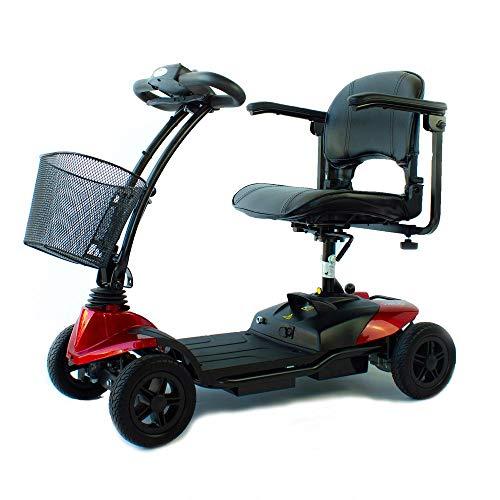 Scooter eléctrico para adultos, 4 ruedas, Compacto y desmontable, Auton. 10 km, 12V, Rojo, Virgo, Mobiclinic