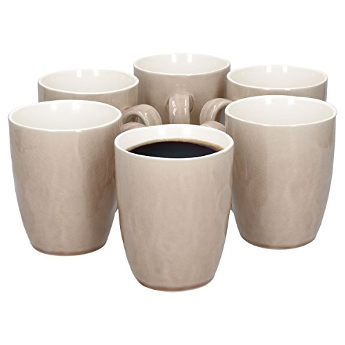MamboCat 6er-Set Kaffeebecher Craquele | 320 ml | Kombi-Geschirr für Kaffee, Tee, Kakao + Heißgetränke | Abstraktes Porzellan-Design | glänzend | Alt-Rosa