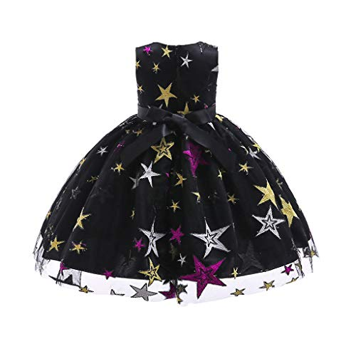 IZHH Kinder Kleider, Mädchen Sterne Gestickte Prinzessin Kleid Stern Print Spitzenkleid Kinder Mädchen Prinzessin Kostüme Party Tutu Bogen - Bögen Kostüm Stiefel