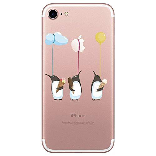 Alsoar ersatz für iPhone 8 iPhone 7 Hülle Weiche Ultra dünn Handy-Hülle Slim Silikon TPU Flex Transparent Gel Case Soft Clear Kratzfeste Stoßfest Premium Qualität Schutzhülle für iPhone 8/7 (Pinguin) - Transparentes Gel Case