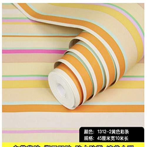 Carta da parati autoadesiva camera da letto carta da parati impermeabile giardino adesivi murali decorativi adesivi per mobili 0,45 m * 10 m 1312-2 striscia di colore giallo