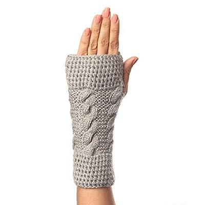 KC STORE Women's Woolen Handmade Gloves (KCG001G, Grey, Free Size)