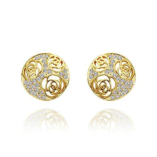BeyDoDo Schmuck 18K Vergoldet Ohrringe für Damen OhrsteckerZirkonia Drei Hohl Roses Kristall Gold Ohrringe