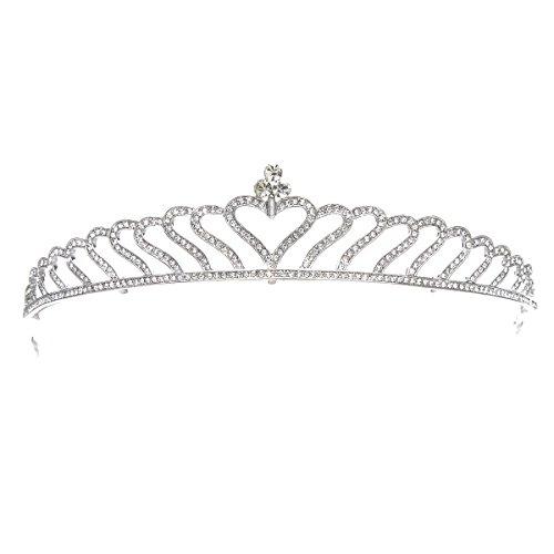 SWEETV Corazón En Forma De Corazón Princesa Tiara Claro Rhinestone Corona Nupcial Para La Fiesta