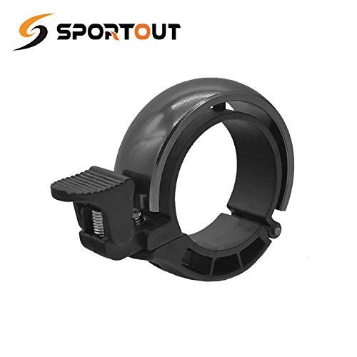 Sportout Aluminiumlegierung Innovative Fahrradklingel Fahrrad Ring mit Lauten Klaren Klaren Kla, für Lenker von 22,2 bis 31,8 mm (Black)