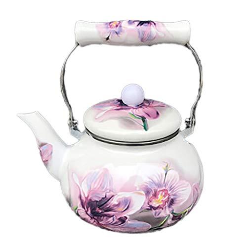 Enamel Kettle Kettle Small Capacity Applique Cold Water Teapot Purple Flowers Quart Flame Top