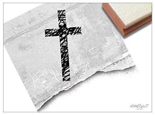 Stempel - Motivstempel Kreuz - Bildstempel Kommunion Taufe, Trauerstempel Traueranzeige Beileidsbekundung Danksagung Deko - zAcheR-fineT