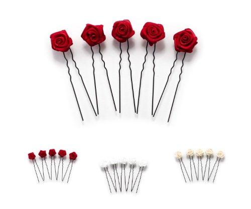 5 épingles à cheveux ornées de roses - accessoire pour coiffure plate/de mariée - Épingle à cheveux noire - rouge bordeaux