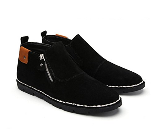 WZG New fallen in mit Hilfe von Freizeitschuhe Leder Herren britischen Seite Reißverschluss handgemachte Schuhe ein Pedal flache Schuhe , black , 45