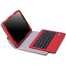 MoKo Samsung Galaxy Tab A 9.7 Funda - Teclado Inalánbrico Wireless Bluetooth Keyboard Cover Case QWERTY para Samsung Galaxy Tab A 9.7 Pulgadas 2015 Tableta, ROJO