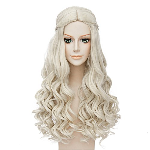 (LanTing Cosplay Perücke Alice Through the Looking Glass?Alice in Wonderland 2 The White Queen White Cosplay Party Fashion Anime Human Kostüm Full Wigs Synthetic Haar Heat Resistant Fiber Haar)