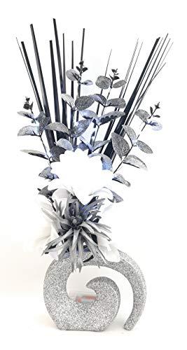 SIMPLY GIFTS Flores Artificiales Seda Blanca Plateadas