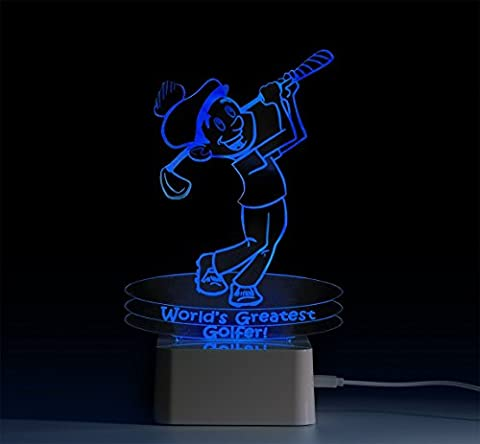 MyGlow™ 3D Multi-Coloured LED Night Light with Golfer Motif - New for 2016