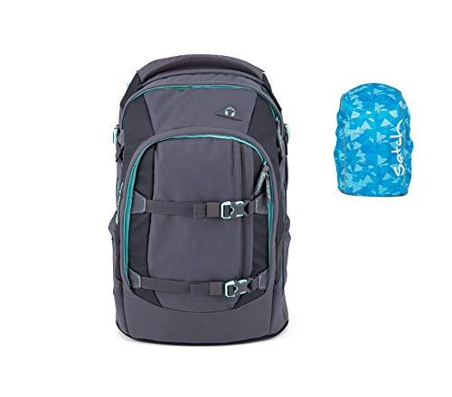 Satch Set Mint Phantom Schulrucksack Pack Regenhülle blau