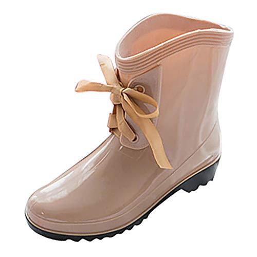Elecenty Pioggia Scarpe Stivali da Pioggia con Tacco Basso Tacco Medio Calzature Impermeabili Allacciate