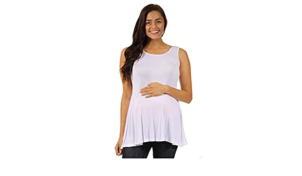Made in USA 24seven Comfort Apparel Maternity Clothes for Women Sleeveless Fit and Flare Scoop Tank Top Sizes S-6XL