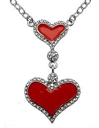 c7c3c73cbb0 Acosta – Émail Rouge et Cristal – Double cœur Charm Collier ...