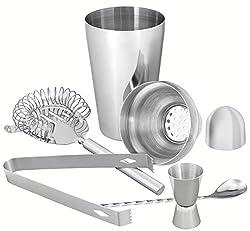 mumbi Cocktail Mixer Bar Set im gebürsteten Edelstahl Design / 5 teilig: Shaker, Sieb, Messbecher, Löffel, Zange