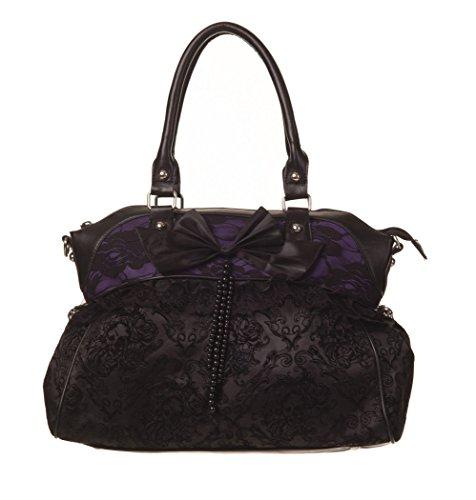 Banned Clothing - Borsetta con fiocco, in pizzo, stile burlesque gotico, colore: nero e viola