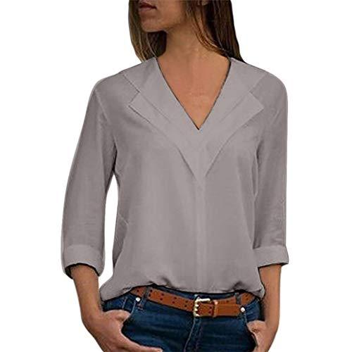 (OverDose Damen Herbst-Sommer-Mode-Frauen-Elegantes formales Chiffon- Festes T-Shirt Büro-Damen-Ebenen-Rollen-Hülsen-Blusen-Oberseiten-Wandern-Klage)