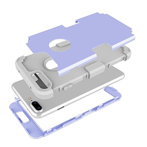"iPhone 7 Plus (5.5"") Étui Cuir , SHANGRUN Armor Heavy Duty Series Dual Layer Full-body Flexible Rubber And Hard PC 3 In 1 Hybrid Protecteur Arrière Ceinture Holster Etui Housse Cover Case pour iPhone  Violet"