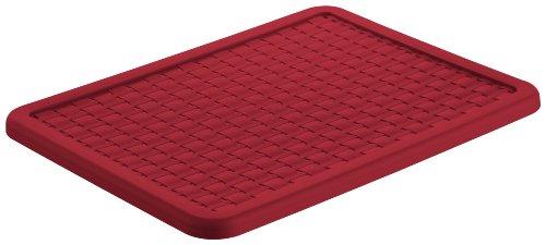 Rotho 1115502255 Deckel zu Aufbewahrungskiste Dekobox Country A4, Maß 37.5 x 28.5 x 1.5 cm (LxBxH), in Rattan-Optik aus Kunststoff (PP), rot