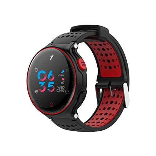 bqlove Herzfrequenz + Fitness Armbanduhr Wristband Activity Tracker mit Herzfrequenz Monitor Schritt Zähler GPS Tracker Wasserdicht Smart Armband für Android und IOS, China Red