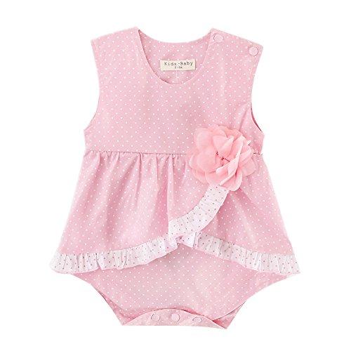 Sanlutoz Nouveau née Bébé Filles Bodysuit Barboteuse Tenues d'été d'anniversaire Jumpsuit fleurs Les vêtements (6-12 mois, YR1203)