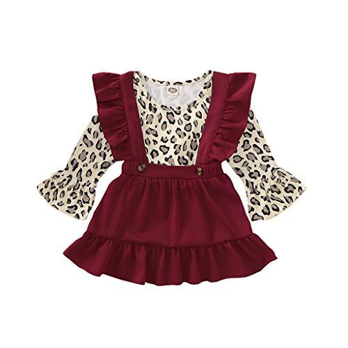 Kleinkind Baby Mädchen Flare Ärmel Leopard T Shirt Tops + Hosenträger Röcke Outfits