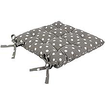 icrafts Pure algodón cocina asiento silla cojín con lazos para evitar el deslizamiento gris cojín cuadrado asiento, silla de oficina pad coche, taburete cojín con funda de algodón (40x 40cm)